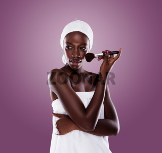 black beauty woman after shower cleaning and beauty treatments