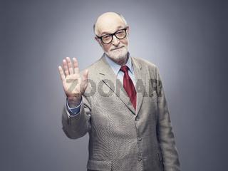 Senior man stop gesture