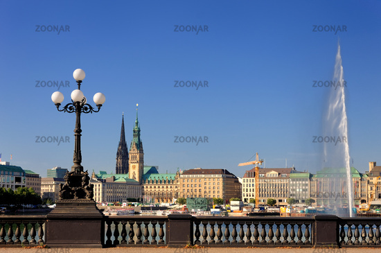Hamburg, Germany, Town Hall at the Alster Lake