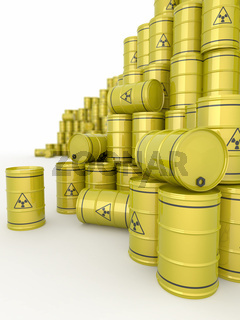 A barrels of radioactive waste on white  background. 3d