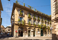 Beautiful house decorated with flowers in Milan. Italy