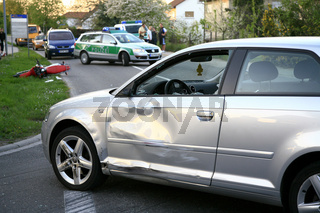 Auto Unfall mit Motorrad, Accident car and motorcycle