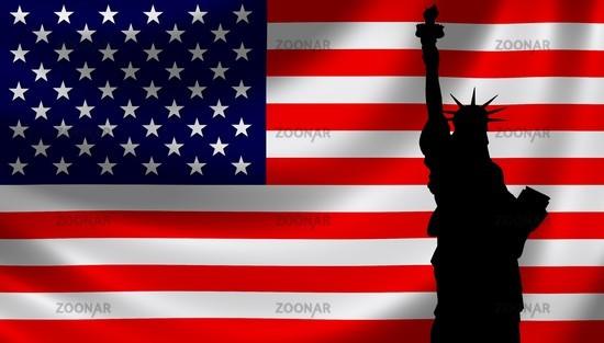 Photo USA Flagge mit Freiheitsstatue Image 1412578