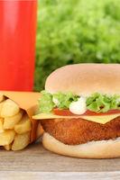 Fischburger Fisch Burger Backfisch Hamburger Menu Menü Menue Fast Food Pommes Frites Getränk