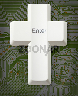 Computer button - Christian cross - Enter