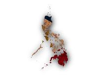 Karte und Fahne der Philippinen auf rostigem Metall - Map and flag of the Philippines on rusty metal