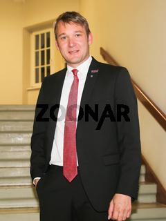 André Poggenburg (AfD) MdL,Fraktionsvorsitzender AfD im Landtag von Sachsen-Anhalt), während der Podiumsdiskussion zum Thema EU - Türkei - Abkommen am 26.09.2016  in Magdeburg