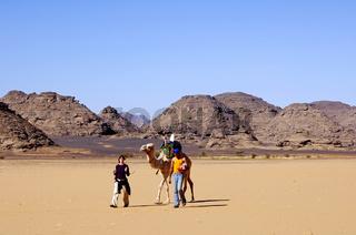 Touristen wandern mit Kamel in der Sahara