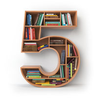 Number 5 five. Alphabet in the form of shelves with books isolated on white.