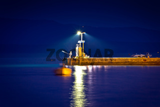 Pier at evening view in town of Bol