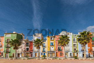 Colorful houses in Villajoyosa in Spain