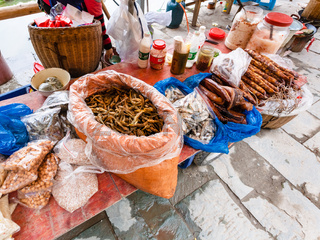 stall with local products on market in Chengyang