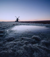 Dawn at Herringfleet mill on a frosty winters morning