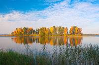 Autumn island and lake