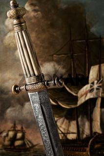 Dagger and sailing ship art