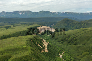 Kuthiny Baty - natural monument, bizarre pumice outcrop. South Kamchatka Nature Park.