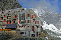 Mountain hut Britannia-Hütte, Saas-Fee, Valais, Switzerland
