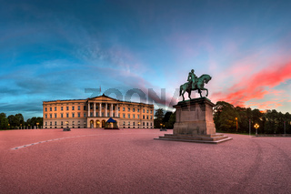 Panorama of the Royal Palace and Statue of King Karl Johan at Sunrise, Oslo, Norway