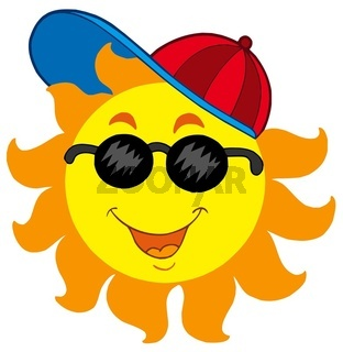 Cartoon Sun in baseball cap - isolated illustration.