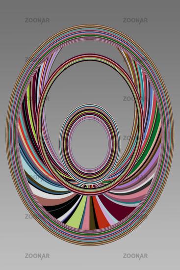 Farbige Streifen in ovaler Form mit Platz für Text