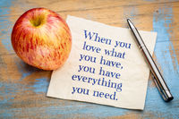 When you love what ... inspiraitonal quote on napkin