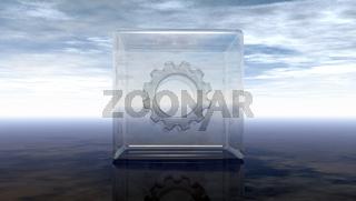 zahnrad in glaswürfel unter wolkenhimmel - 3d illustration