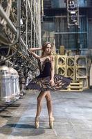 Ballerina posing in interior