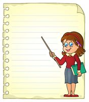 Notebook page with woman teacher - picture illustration.