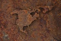 Karte von Nordamerika auf rostigem Metall - Map of North America on rusty metal