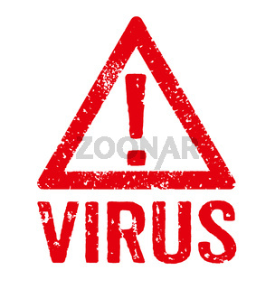 A red stamp on a white background - Virus