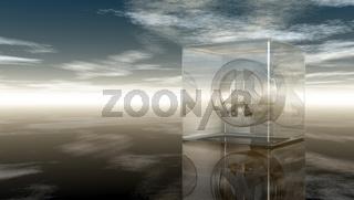 friedenssymbol in glaswürfel unter wolkenhimmel - 3d illustration