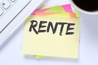 Rente Pension Pensionierung Business Schreibtisch