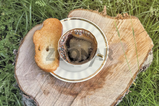 Still life: a Cup of black coffee in the garden.