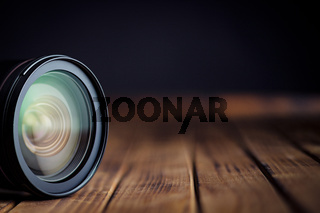Camera lens with reflections.