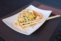 Yaki udon food and chopsticks