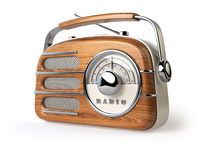 Vintage retro radio receiver isolated on white.