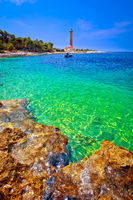 Veli Rat lighthouse and turquoise beach view