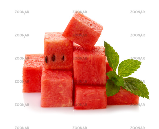 Red Watermelon pieces isolated on white.
