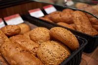 close up of bread at bakery or grocery store