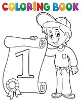 Coloring book boy holds certificate