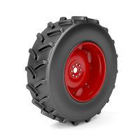 Tractor wheel on white