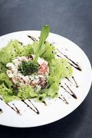 gourmet prawn cocktail salad with apple celery and spicy yoghurt