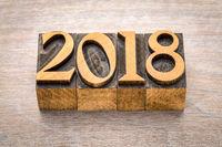 2018 year in letterpress wood type