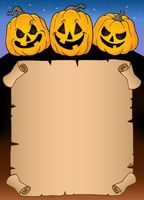 Parchment with Halloween pumpkins 3 - picture illustration.