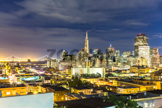 cityscape and skyline of san francisco at twilight