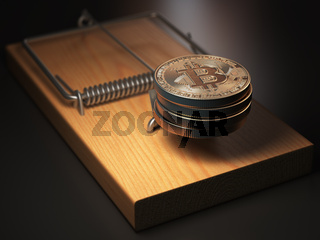 Bitcoin BTC coins in the mousetrap. Financial invetsment risk concept.
