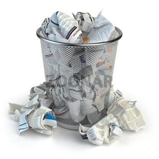 Trash bin full of waste paper. Wastepaper basket isolated on white background.