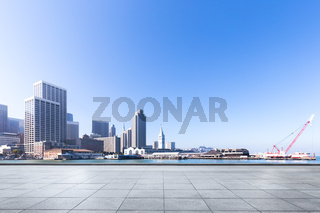 empty floor with cityscape and skyline of san francisco in sunny day