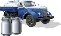 Vector retro delivery milk tanker truck