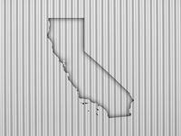 Karte von Kalifornien auf Wellblech - Map of California on corrugated iron